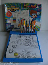 SUPER RARE Digimon ROLL-DESK Coloring Set Complete Markers Crayons