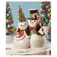 Bethany Lowe Bottlebrush Snowman Figurine Retro Vintage Style Christmas Decor