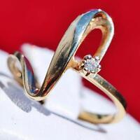 Vintage handmade 10k yellow gold 0.06ct natural diamond size 7 swirl ring 2.4gr