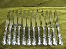 12 couteaux de table metal argente rocaille (dinner knives) F Frionnet