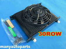 "30 ROW AN10 FITTING HEAVY DUTY OIL COOLER 7"" ELECTRIC FAN KIT JAPAN TUNING CARS"