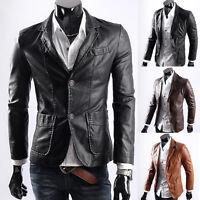 Mens Slim Fit Motorcycle PU Leather Jacket Coat Outwear PUNK Biker Plus SZ Black