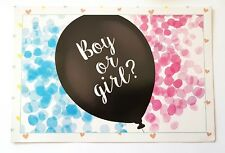 "GENDER REVEAL BALLOON-BABY SHOWER-26"" LATEX BALOON-BOY/GIR/PINK/BLUE CONFETTI"