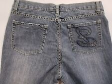 Bogari Womens Embroidered B Blue Jeans Embellished Crop Capri Size 32 x 22""