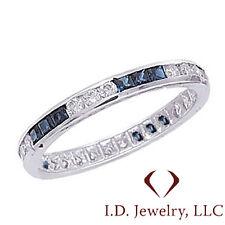 1.06CTW Princess Diamond & Sapphire Eternity Band G SI