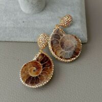 Natural Ammonite Fossils Stud Earrings