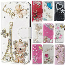 Nice Flip Bling Wallet Stand Case Crystal PU Leather Cover For Samsung Galaxy