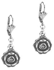 Rose Flower Dangle Silver Earrings Leverback Antiqued Style By Grace Of New York