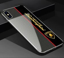 Tempered Glass iPhone Case Mix Carbon Fiber Lamborghini Lambo Logo Emblem New