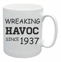 81st Novelty Birthday Gift Present Tea Mug Wreaking Havoc Since 1937 Coffee Cup