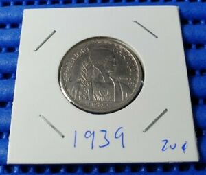 1939 French Indo Chine Francaise 20 Cents Coin