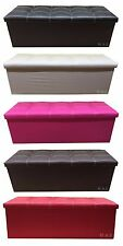 Faux Leather Pouffe/Ottoman Storage/Toy Box Foot Stools 3 Seater Seat Bench