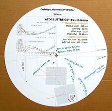 Acos Lustre GST-801 Custom Designed Phono Cartridge Stylus Alignment Protractor