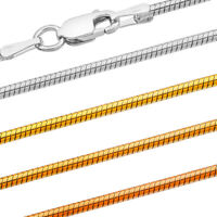 Snake Chain - 925 Sterling Silver - 0.75-1.50 mm + 16,18,20,22,24,26,28,30 in