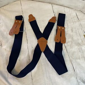 "Carhartt Men's Suspenders Logger Brown Leather Button Waist 2"" Navy Blue"