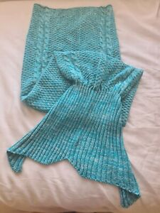 🧜🏽 Turquoise Blue / Green Mermaid Tail Blanket - Excellent Cond 🧜🏽