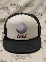 Vintage AT&T Black and White Mesh Snapback Trucker Hat Made In U.S.A.
