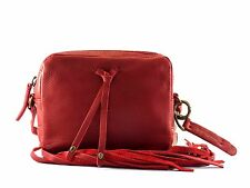 Lucky Brand LB2773 Kyle Mini Fringe Ruby Red Leather Top Zip Crossbody Bag NEW