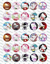 "30 Precut 1"" Hello Kitty Bottle cap Image Set 2"