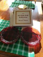 "1980 Vintage Avon 1876 Cape Cod ""DESSERT PLATES SET of 2"" Ruby Red Glass -NEW!"