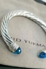 David Yurman Sterling Silver Blue Topaz & Diamond  7MM Cable Crossover Bracelet
