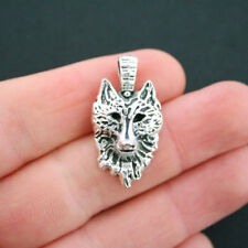 4 Wolf Charms Antique Silver Tone Detailed Wolf Head - SC5038