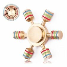 Fidget Hand Spinner Finger Toy EDC Focus ADHD Autism Stress Relief 6 Side BRASS/