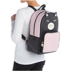LUV Betsey By Betsey Johnson Badley Cat Backpack Pink Black Travel Carry On NWT
