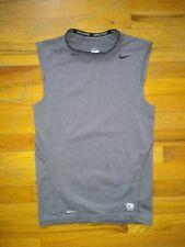 Nike Pro Fitted Sleeveless Shirt Gray Tank Top Athletic Nike Fit Mens Sz Medium