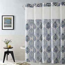 """NWT Hookless Ikat Shower Curtain in Estate Blue Damask Print 71x74"""""""