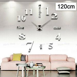 Modern DIY 3D Large Number Wall Clock Mirror Sticker Decor Home Office Kids Room