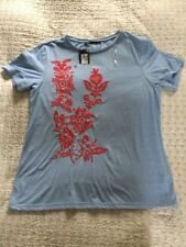 Delightful BNWT M&S Collection Floral Embroidered Detail  Sky Blue Top-size 12