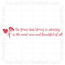 Mulan Flower Blooms Adversity Disney Girl Wall Decal Vinyl Sticker Quote B92