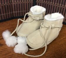 Ralph Lauren infant girl's toddler size 3 faux fur lined boots booties beige F36
