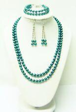 2 Strand Dark Teal Green Glass Pearl w/Crystal Seed Bead Necklace/Bracelet/Earri