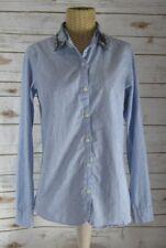 Maison Scotch 1 Womens Small Blue Beaded Long Sleeve Cotton Shirt Blouse