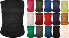 New Womens Ladies Ruched Strapless Sleeveless Boob tube Bandeau Top 8-26