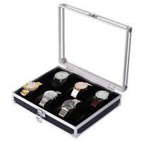 New Mens 10 Grids Slots Jewelry Watch Display Case Aluminum Box Storage Holder