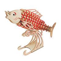 3D Wooden Puzzle Carp Wood Craft Fish Model Puzzle Kit Children Educational Toy