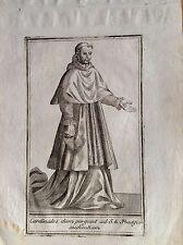VINCENZO CORONELLI franciscano Cardenal un audiencia aguafuerte XVIII sec