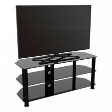 "TV Stand Modern Black Glass Unit up to 55"" inch HD LCD LED Curved TVs - 114cm"