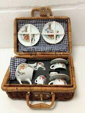 1997 World Of Beatrix Potter - Miniature Porcelain Picnic Set In Wicker Hamper