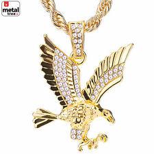 "Men's 14k Gold Plated Iced Out Eagle Pendant 24"" Rope Chain Necklace HC 1121 G"