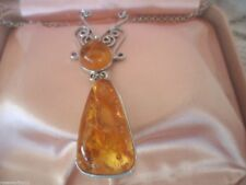 Vintage Sterling Silver Antique Baltic Amber Jewelry Pendant and Chain Necklace