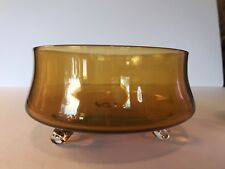 Vintage Handblown Mid Century Amber Glass Bowl Footed Applied Feet EUC