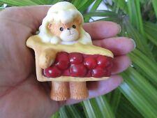 Rare Lucy & Me Apple Pie A La Mode Cherry Ice Cream On Top Teddy Bear Figurine
