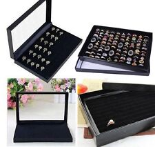 100 RING VELVET JEWELLERY DISPLAY BOX STORAGE TRAY CASE ORGANISER CLEAR SLOTS