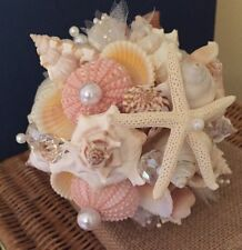 XO Bouquets Bride  Bouquet Sea Shells Bridesmaid  Beach Wedding 21 Inch Bouquet