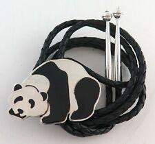 Panda Bear Sterling Silver Large Southwestern Bolo Tie