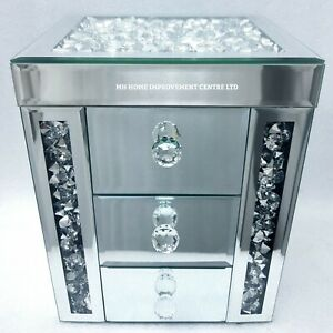 Sparkly Diamond Crush Crystal Silver Mirrored 3 Drawer Jewellery Trinket Box